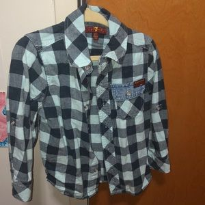 7 for all mankind button blue checkered shirt 3T